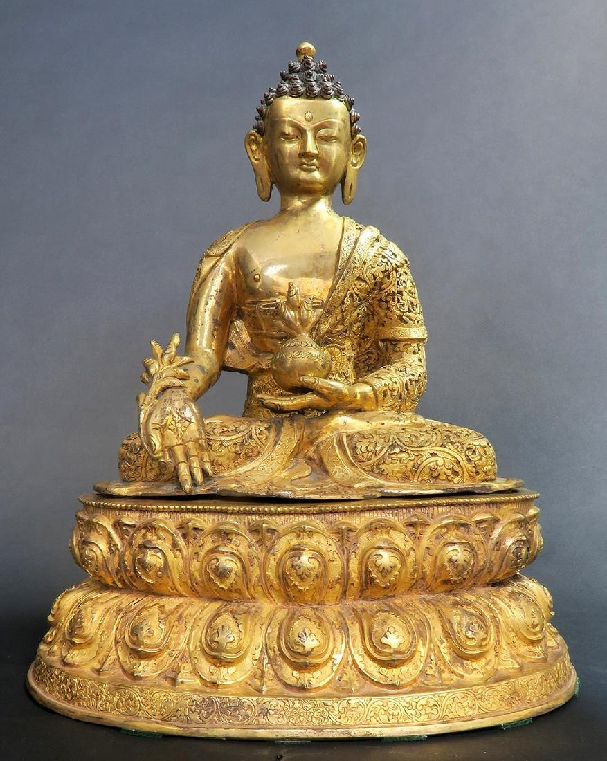 A Large 19th C. Gilt Bronze Buddha Sculpture - 2