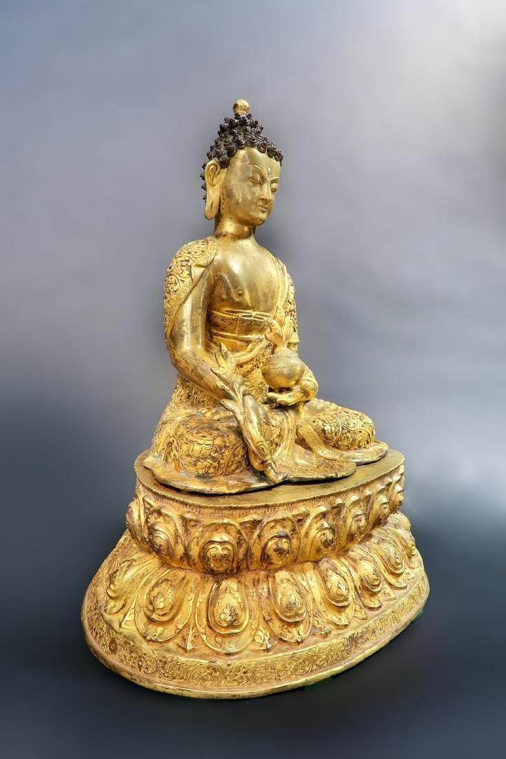 A Large 19th C. Gilt Bronze Buddha Sculpture - 3