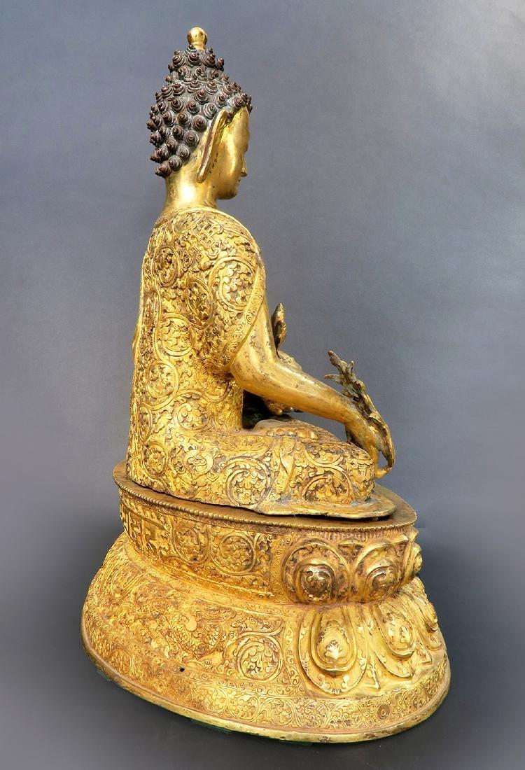 A Large 19th C. Gilt Bronze Buddha Sculpture - 4