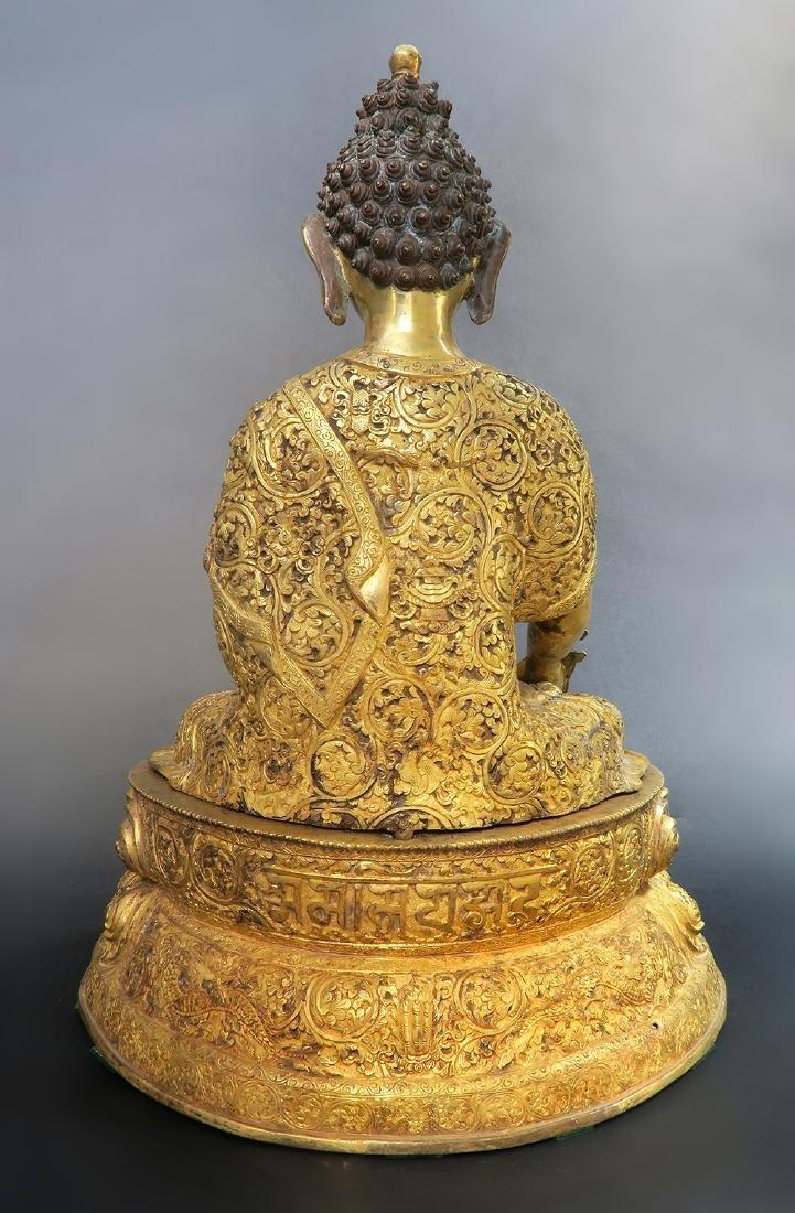 A Large 19th C. Gilt Bronze Buddha Sculpture - 5