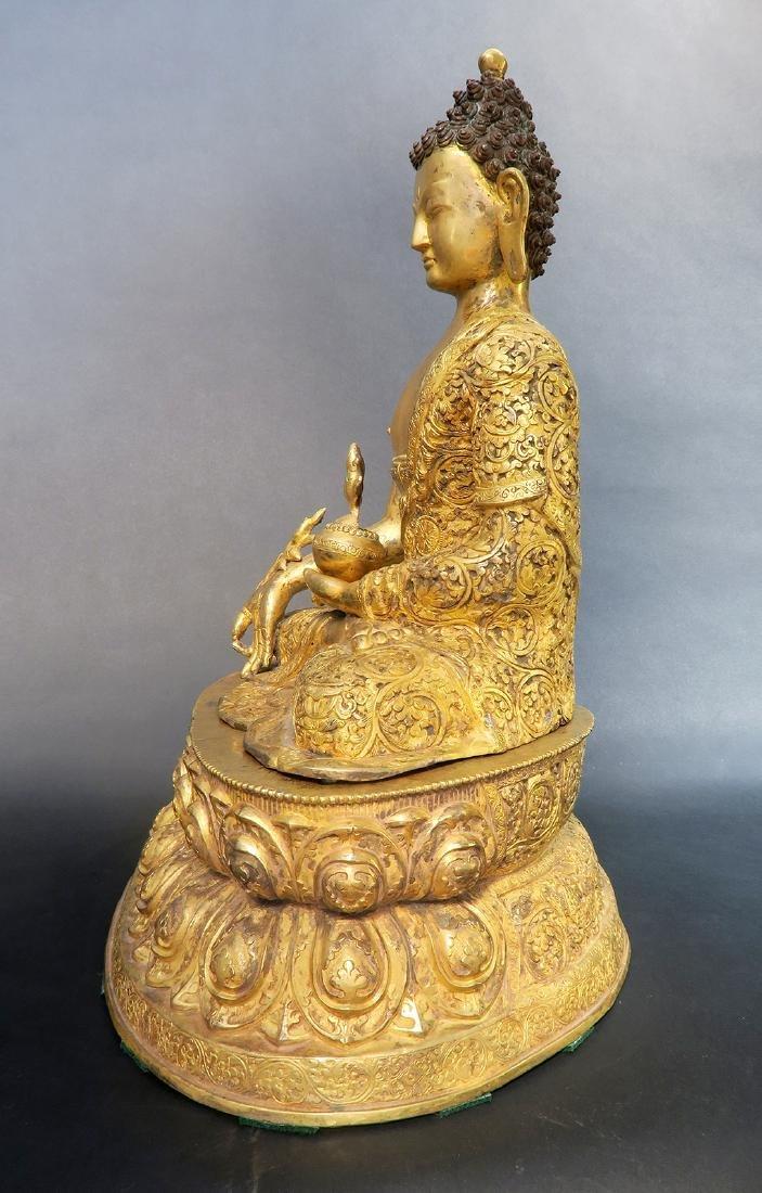 A Large 19th C. Gilt Bronze Buddha Sculpture - 6
