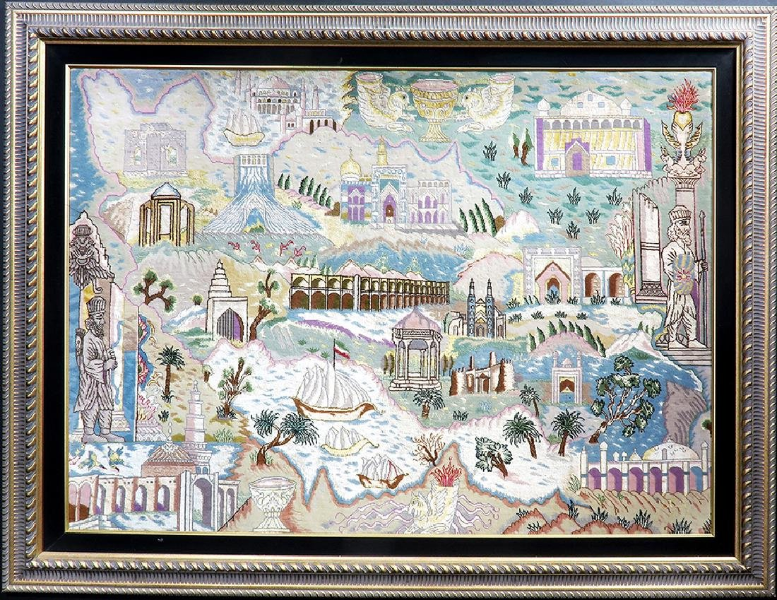 "A Large Framed ""Iran Map"" Persian Rug from Tabriz"