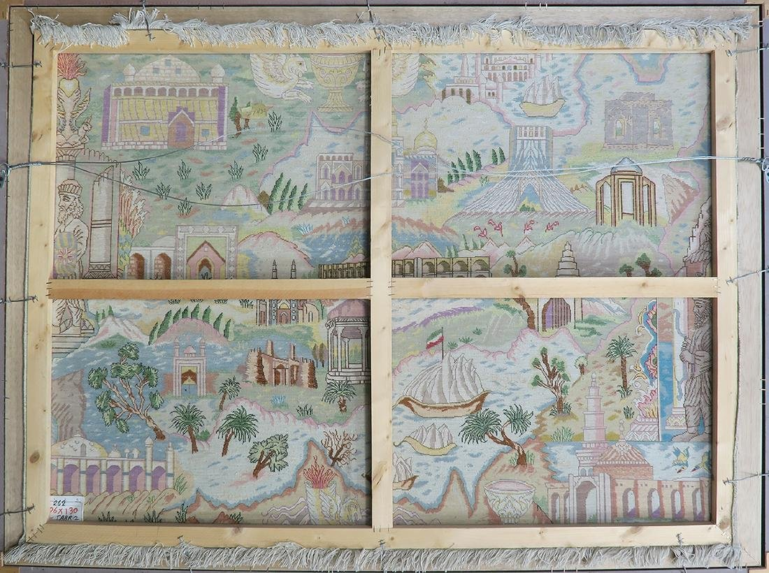 """A Large Framed """"Iran Map"""" Persian Rug from Tabriz - 7"""
