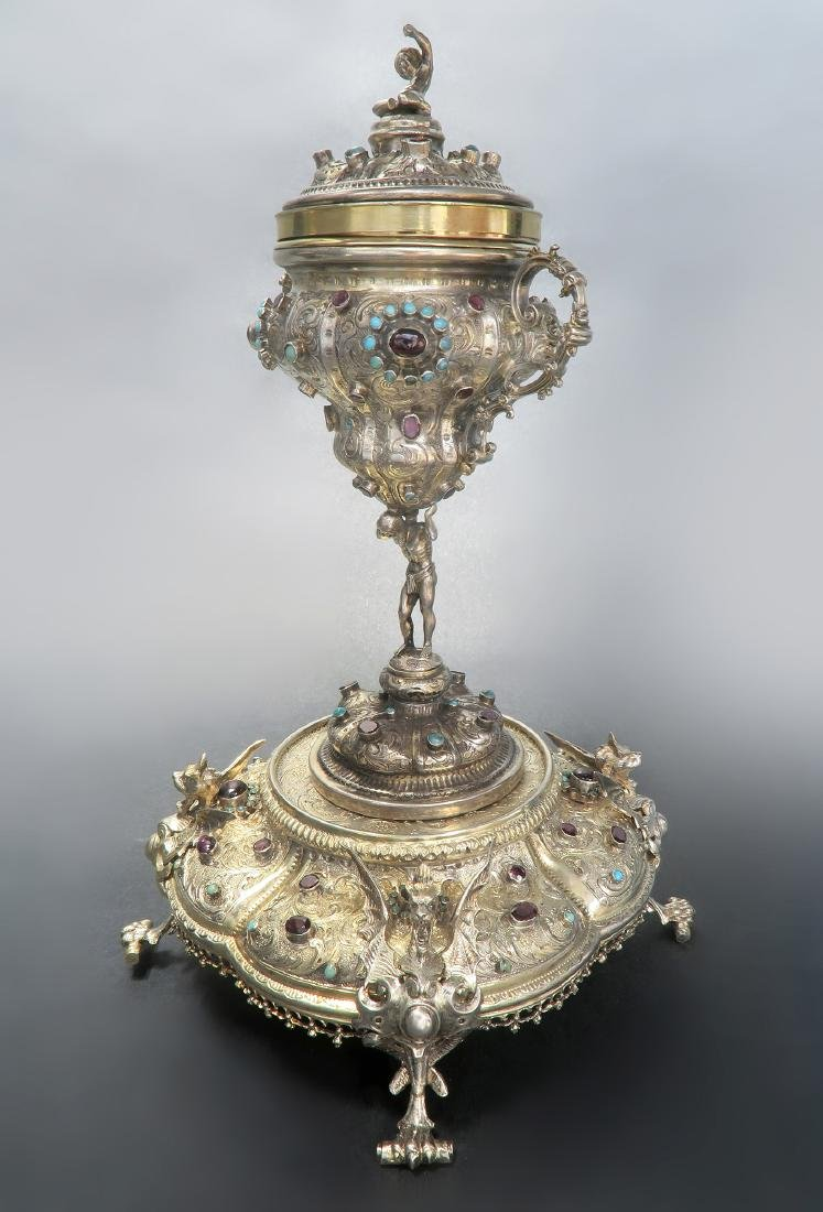 VIENNESE FIGURAL SILVER JEWELED TRINKET BOX AUSTRIA