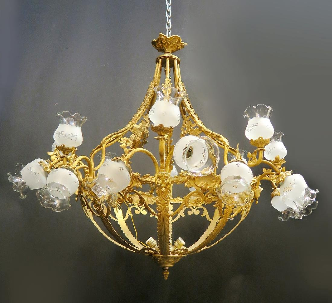 19th C. Large French Bronze Chandelier 27-Light
