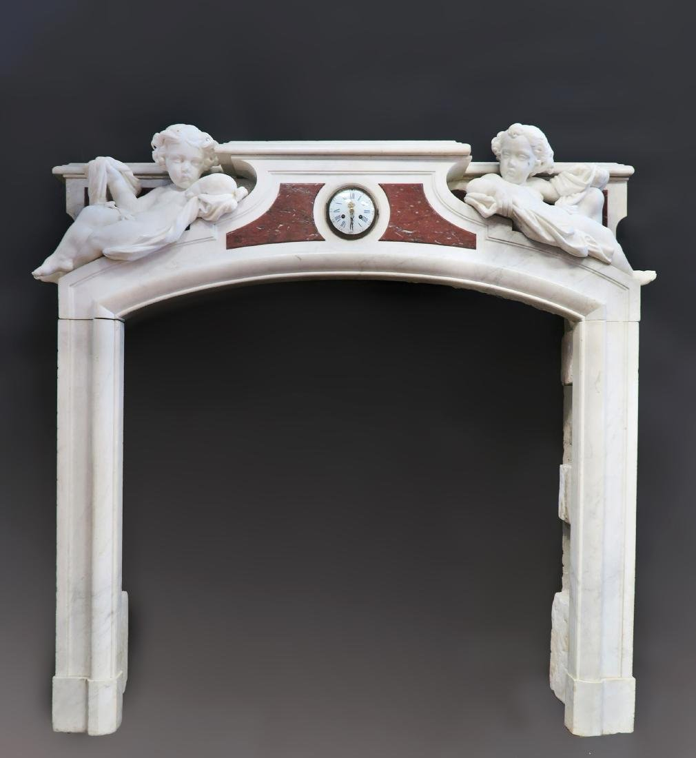19th C. Grand Figural Marble Fireplace Mantel - 3