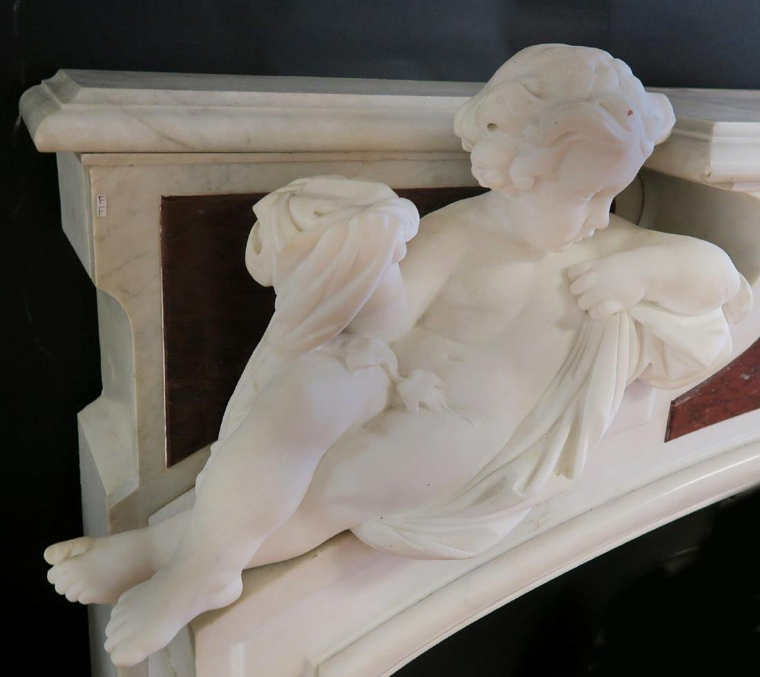 19th C. Grand Figural Marble Fireplace Mantel - 5