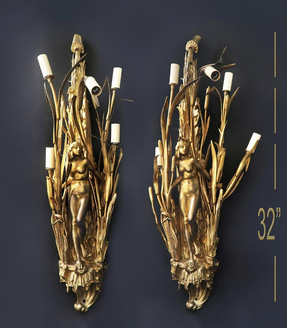Large 19th C French Pair of Bronze Figural Wall Sconces