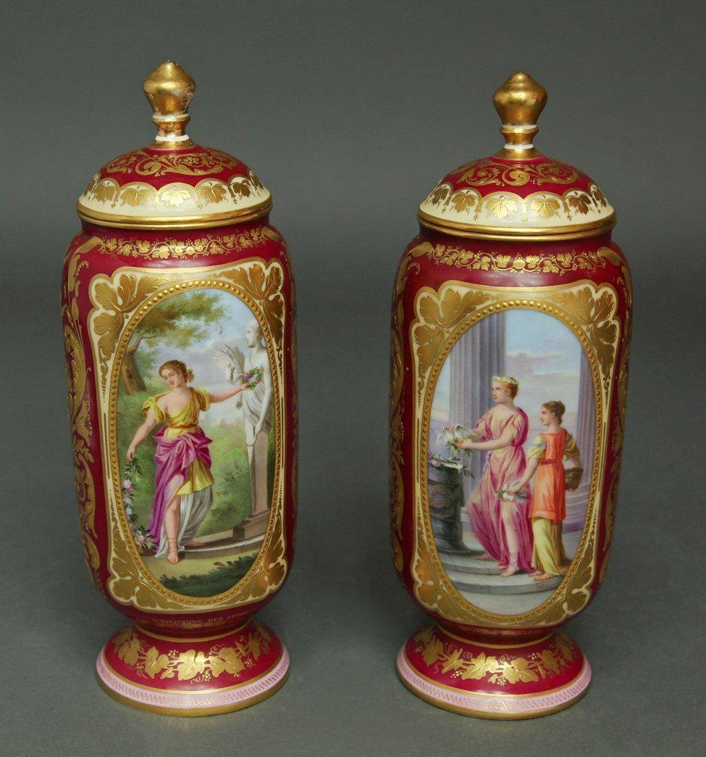 19th C. Pair of Hand Painted Royal Vienna Vases