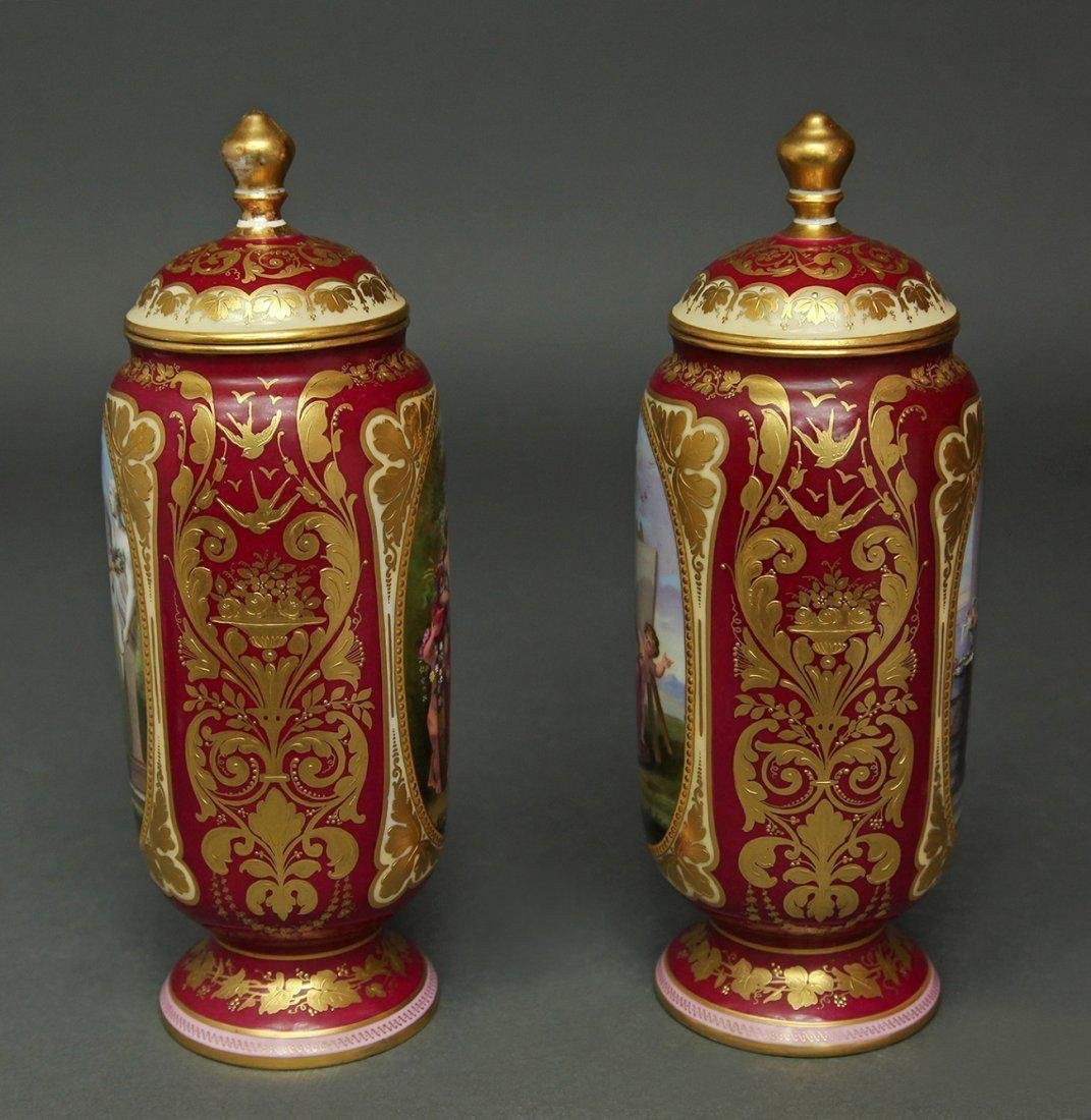 19th C. Pair of Hand Painted Royal Vienna Vases - 2