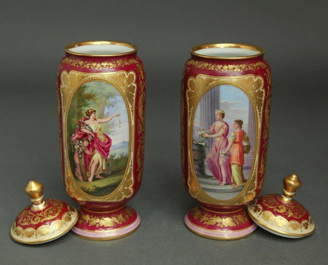 19th C. Pair of Hand Painted Royal Vienna Vases - 3