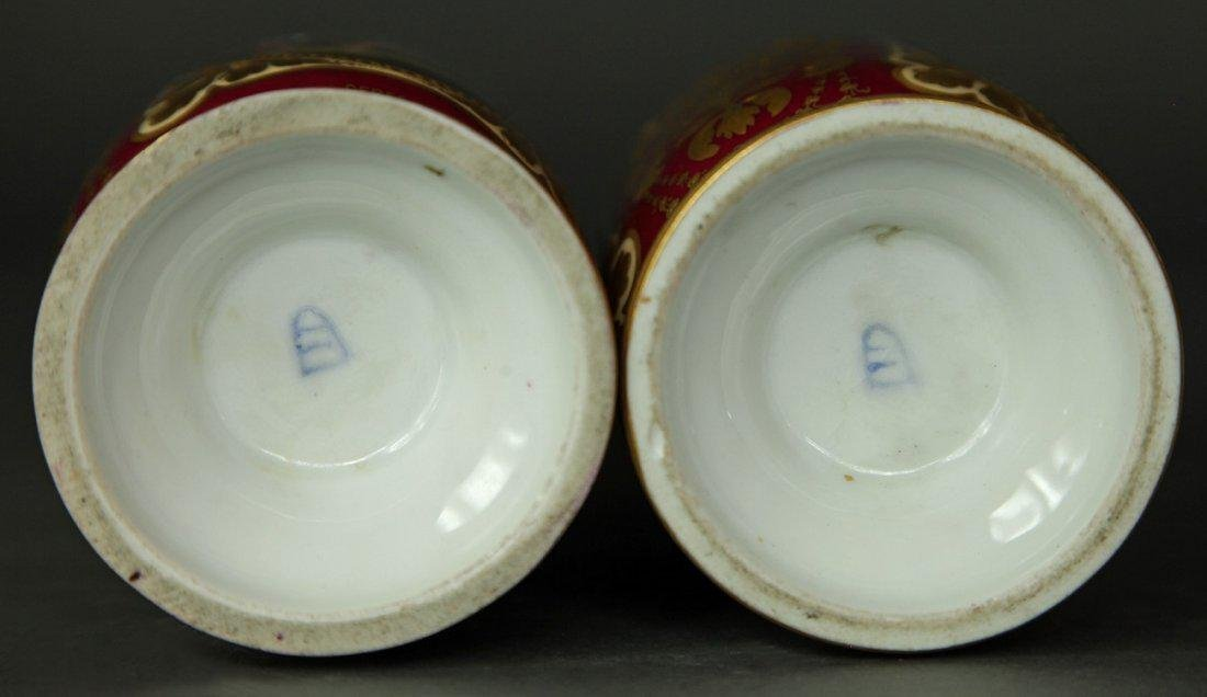 19th C. Pair of Hand Painted Royal Vienna Vases - 4