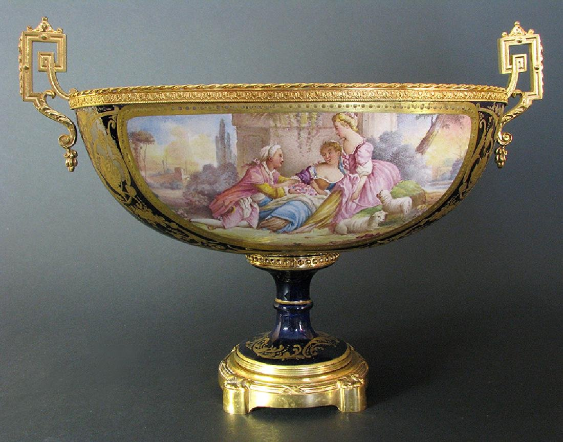 19th C. Hand Painted Gilt Bronze Sevres Centerpiece