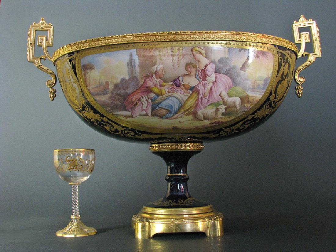 19th C. Hand Painted Gilt Bronze Sevres Centerpiece - 2