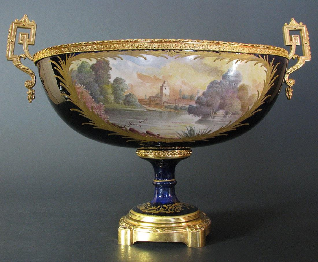 19th C. Hand Painted Gilt Bronze Sevres Centerpiece - 6