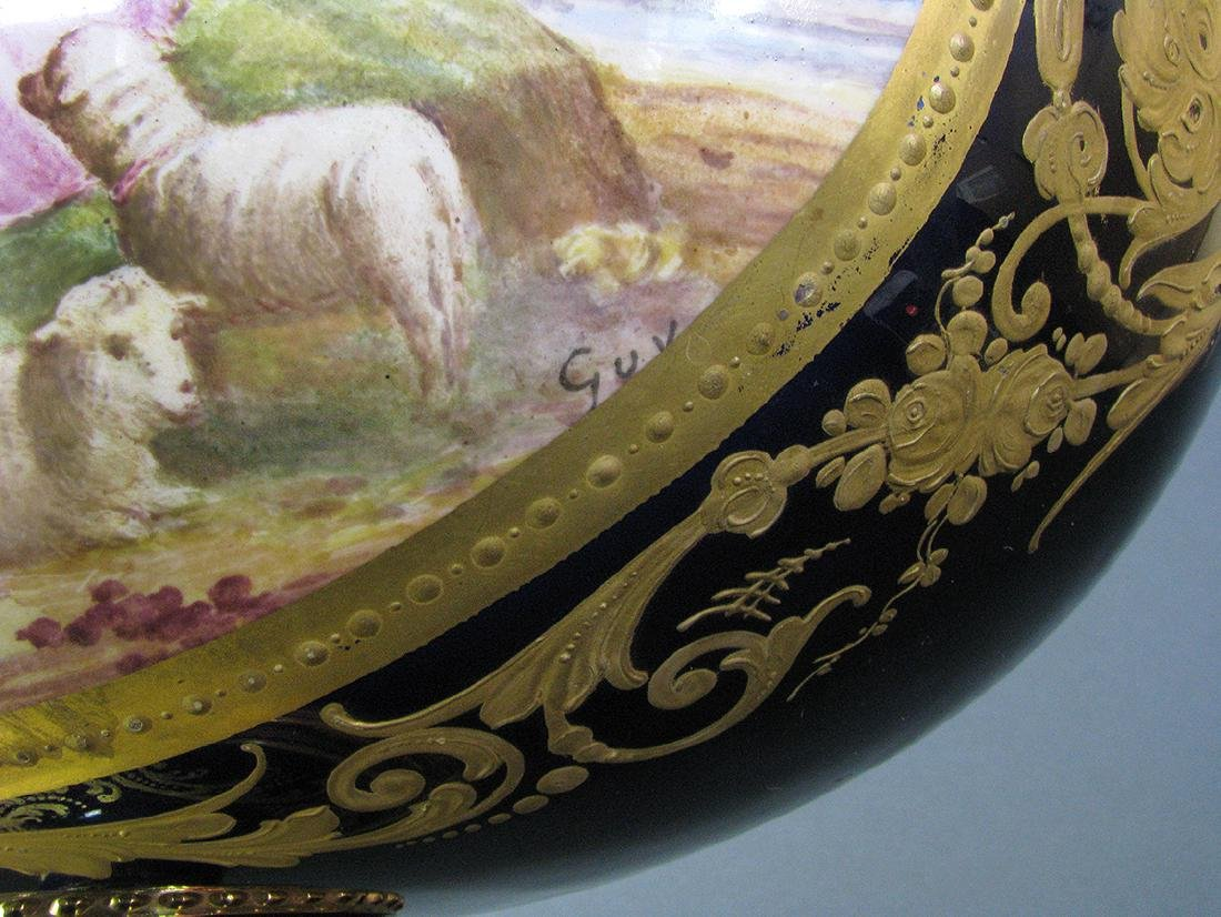 19th C. Hand Painted Gilt Bronze Sevres Centerpiece - 7
