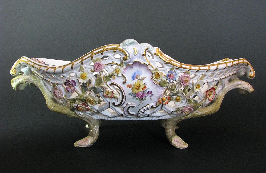 A Fine 19th C. Meissen Raised Flowers Centerpiece