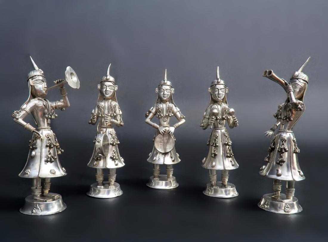 Set of Five Hindu Musician Silver Figurines