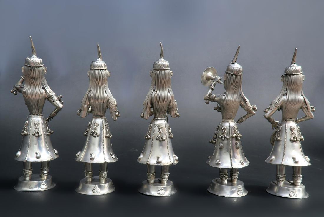 Set of Five Hindu Musician Silver Figurines - 2