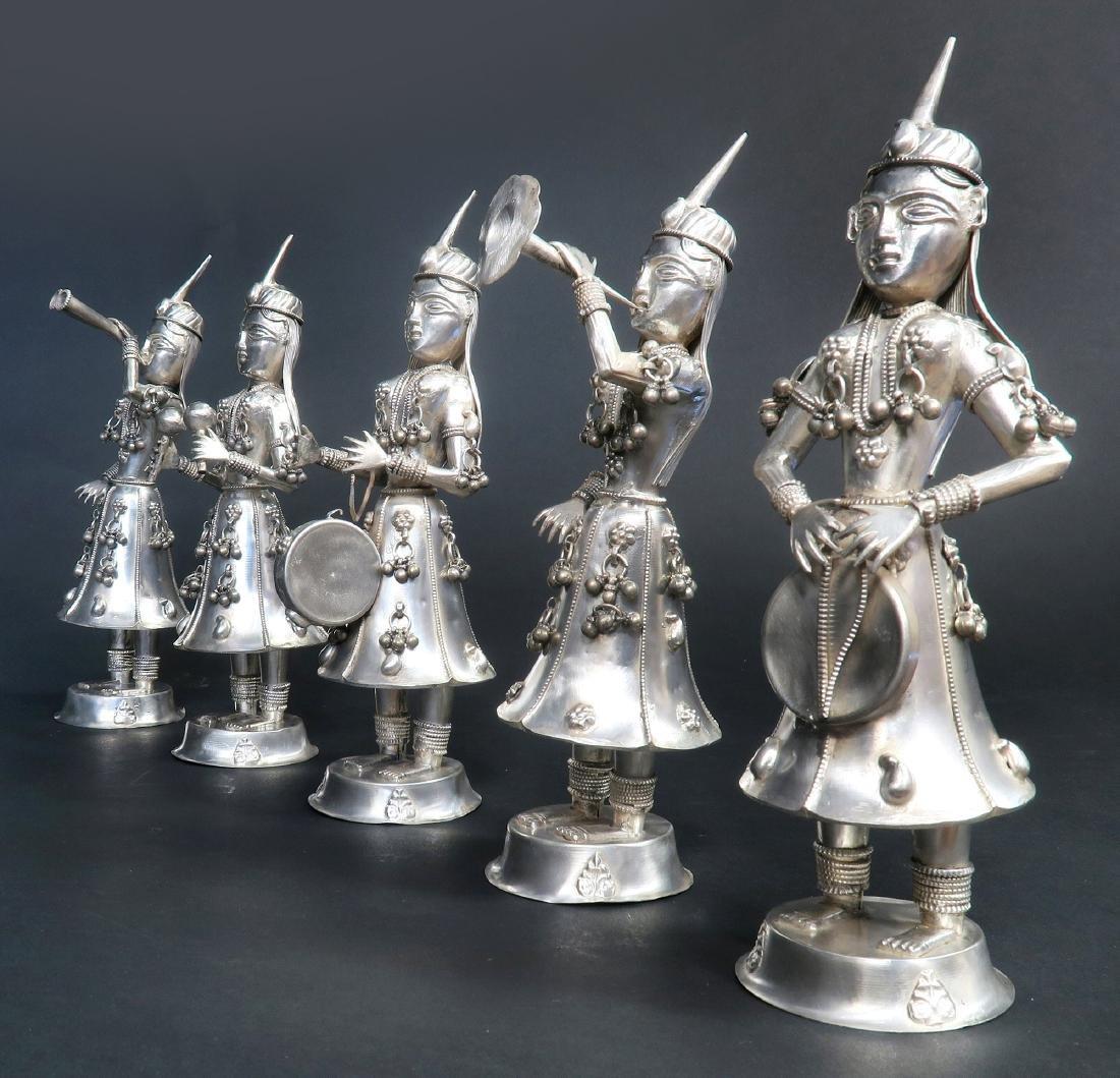 Set of Five Hindu Musician Silver Figurines - 3