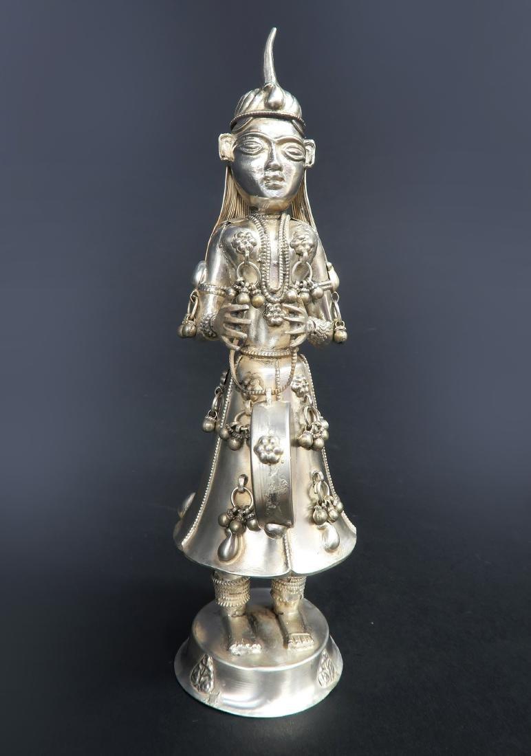 Set of Five Hindu Musician Silver Figurines - 4