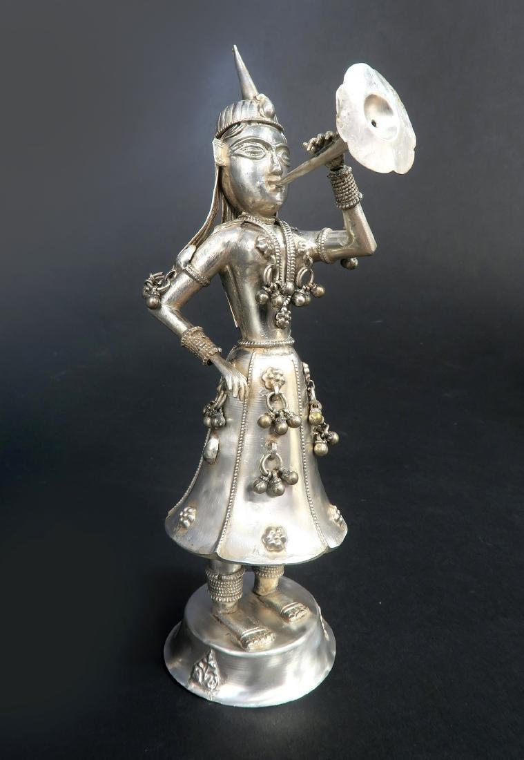 Set of Five Hindu Musician Silver Figurines - 5