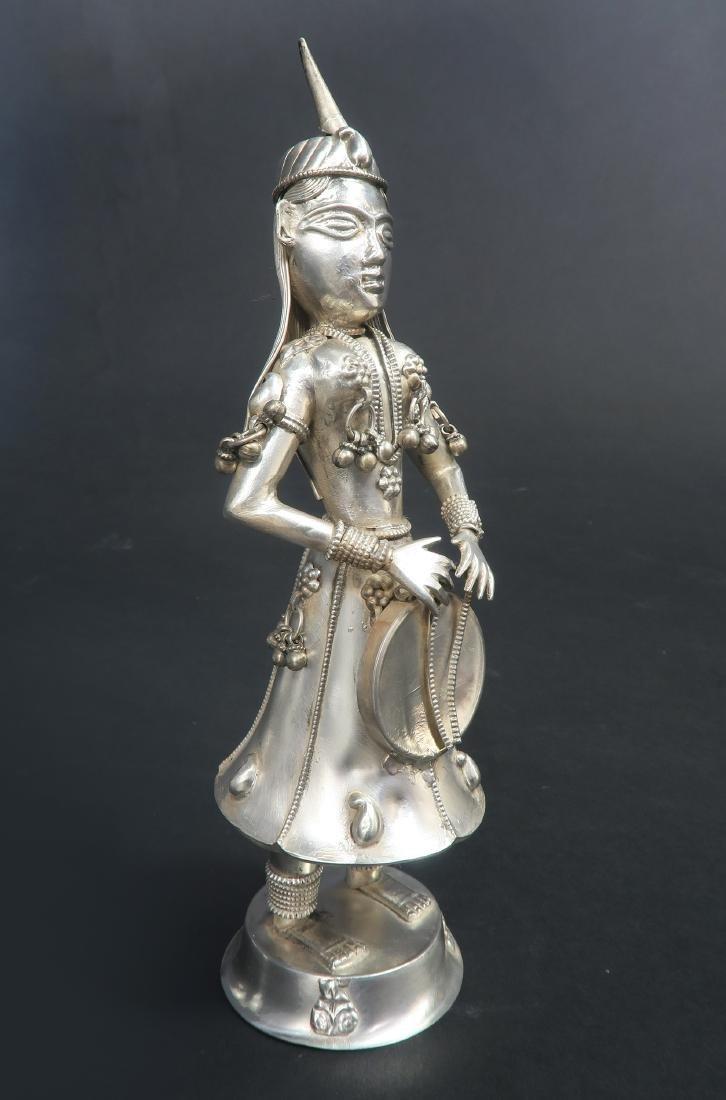 Set of Five Hindu Musician Silver Figurines - 8