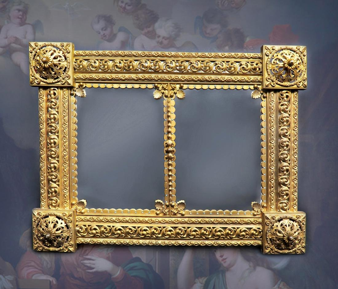19th C. French Bronze Mirrored Plateau