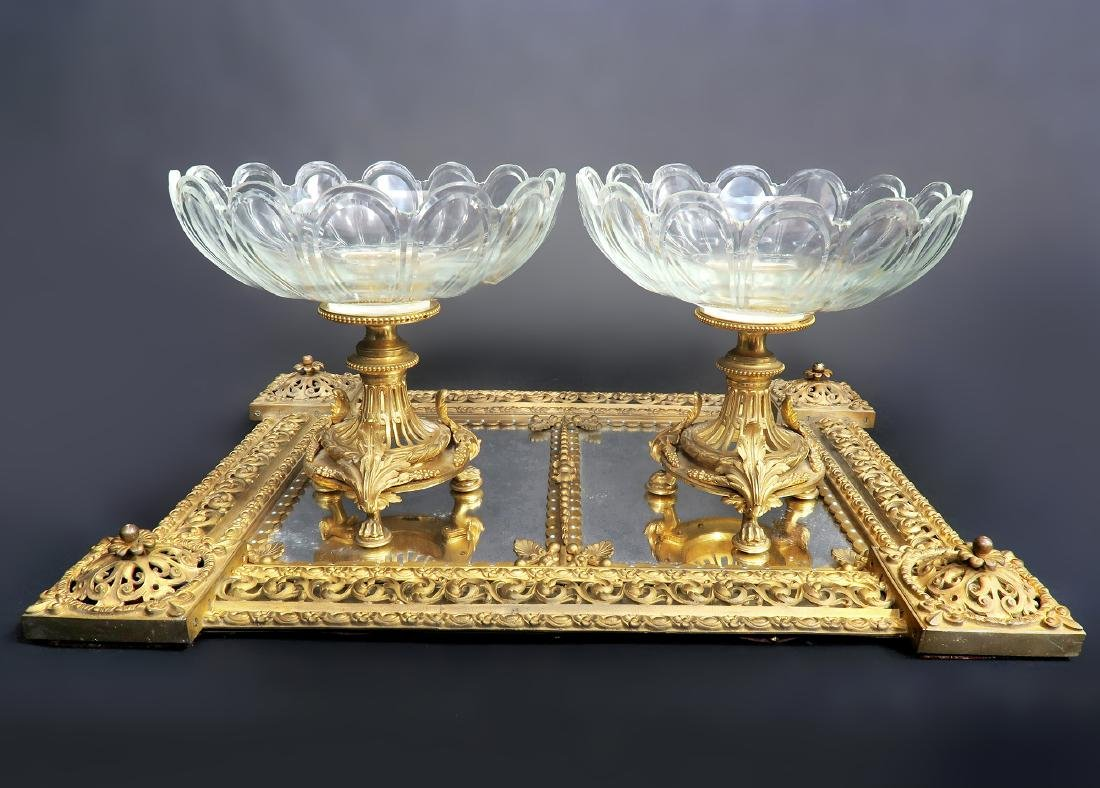 19th C. French Bronze Mirrored Plateau - 2