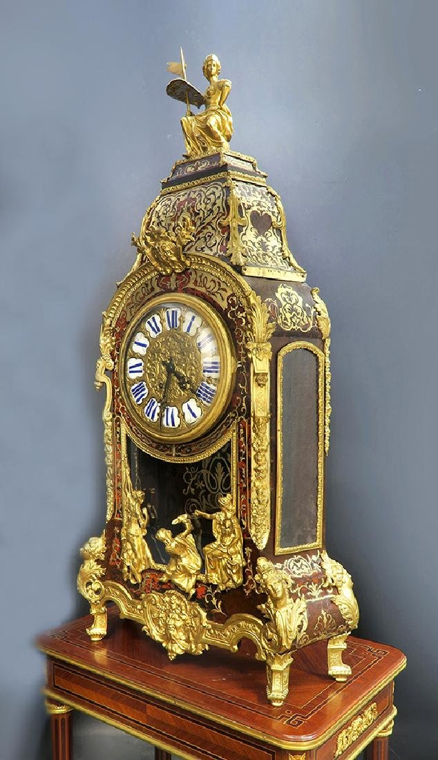 Monumental French Boulle & Figural Bronze Clock