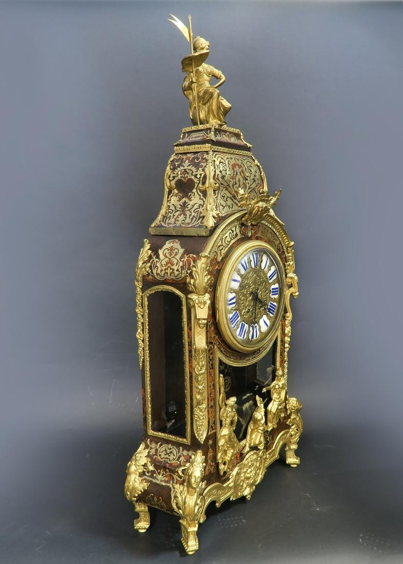 Monumental French Boulle & Figural Bronze Clock - 3