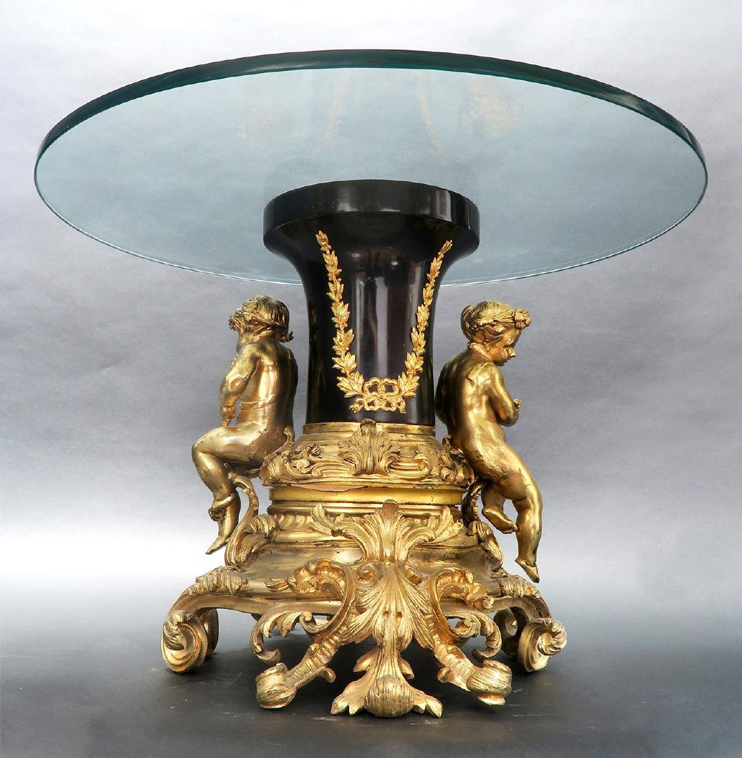 19th C. French Figural Gilt Bronze Side Table - 4