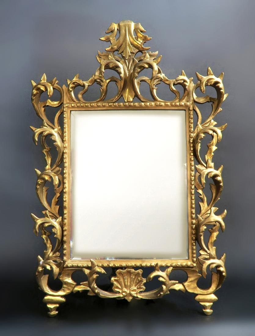 French Wooden Gold Leaf Rococo Style Mirror