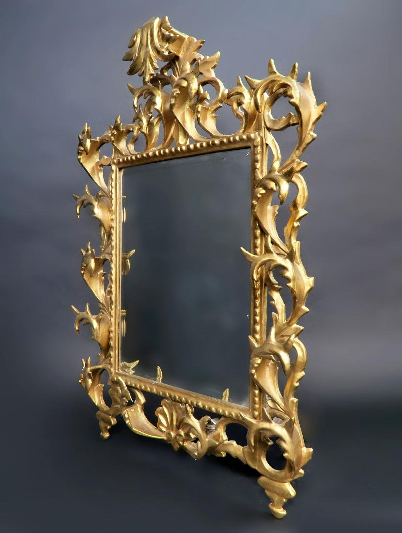 French Wooden Gold Leaf Rococo Style Mirror - 2