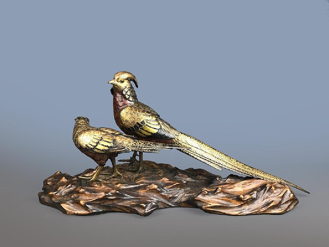 A LARGE JAPANESE GILT AND PATINA-TED BRONZE