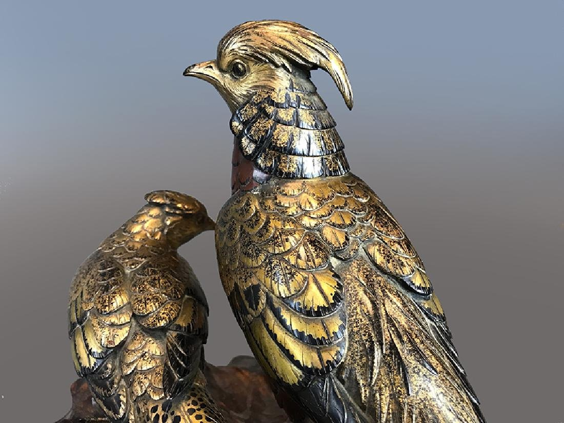 A LARGE JAPANESE GILT AND PATINA-TED BRONZE - 7