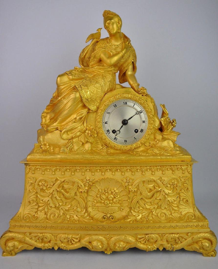 19th C. French Gilt Bronze Clock