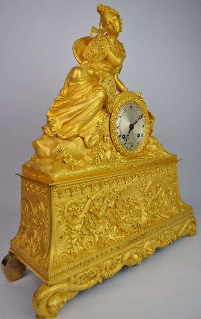 19th C. French Gilt Bronze Clock - 2