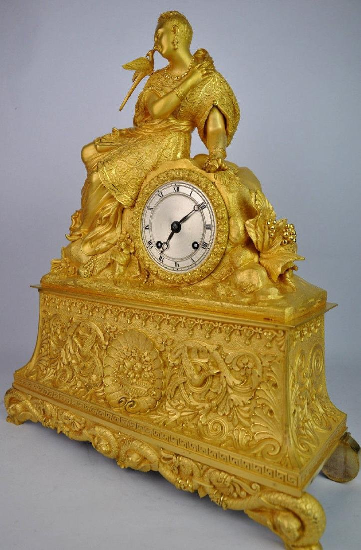 19th C. French Gilt Bronze Clock - 3