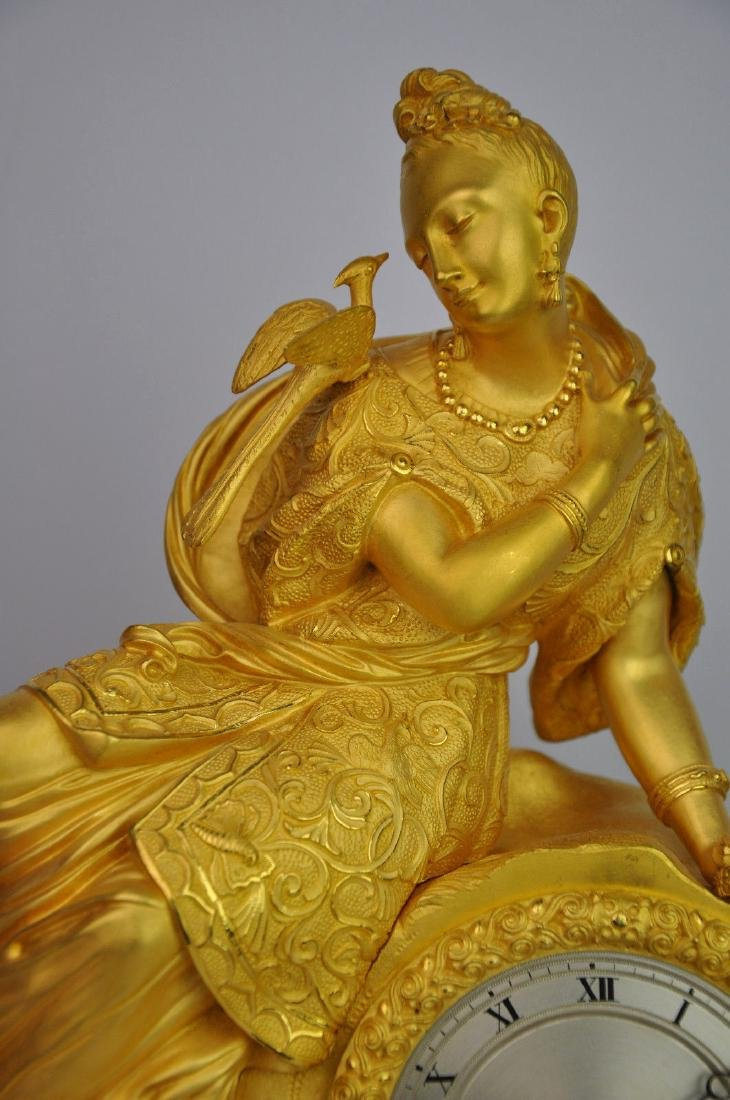 19th C. French Gilt Bronze Clock - 7