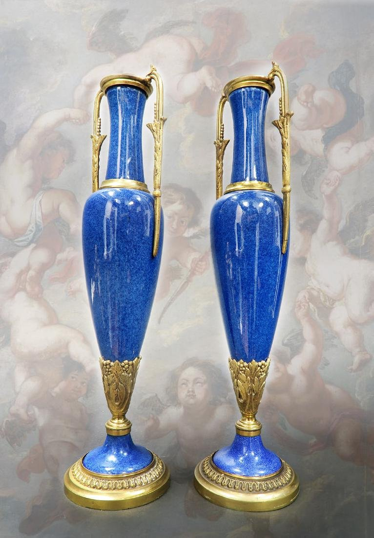 A Pair of Sevres Paul Milet Bronze/Flambe Glaze Vases