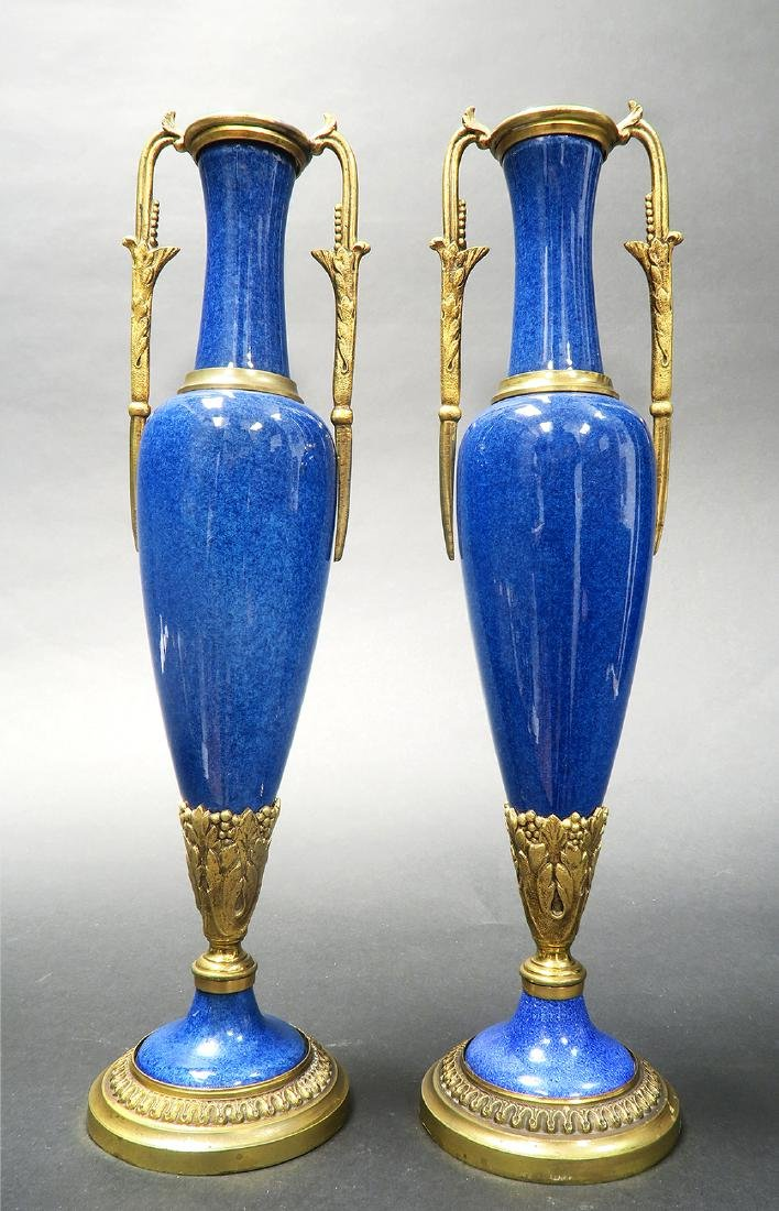 A Pair of Sevres Paul Milet Bronze/Flambe Glaze Vases - 2