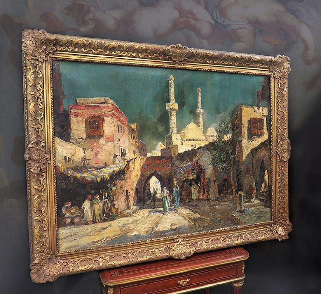 """Oil On Canvas Orientalist Painting By """"H.Pizzaro"""""""