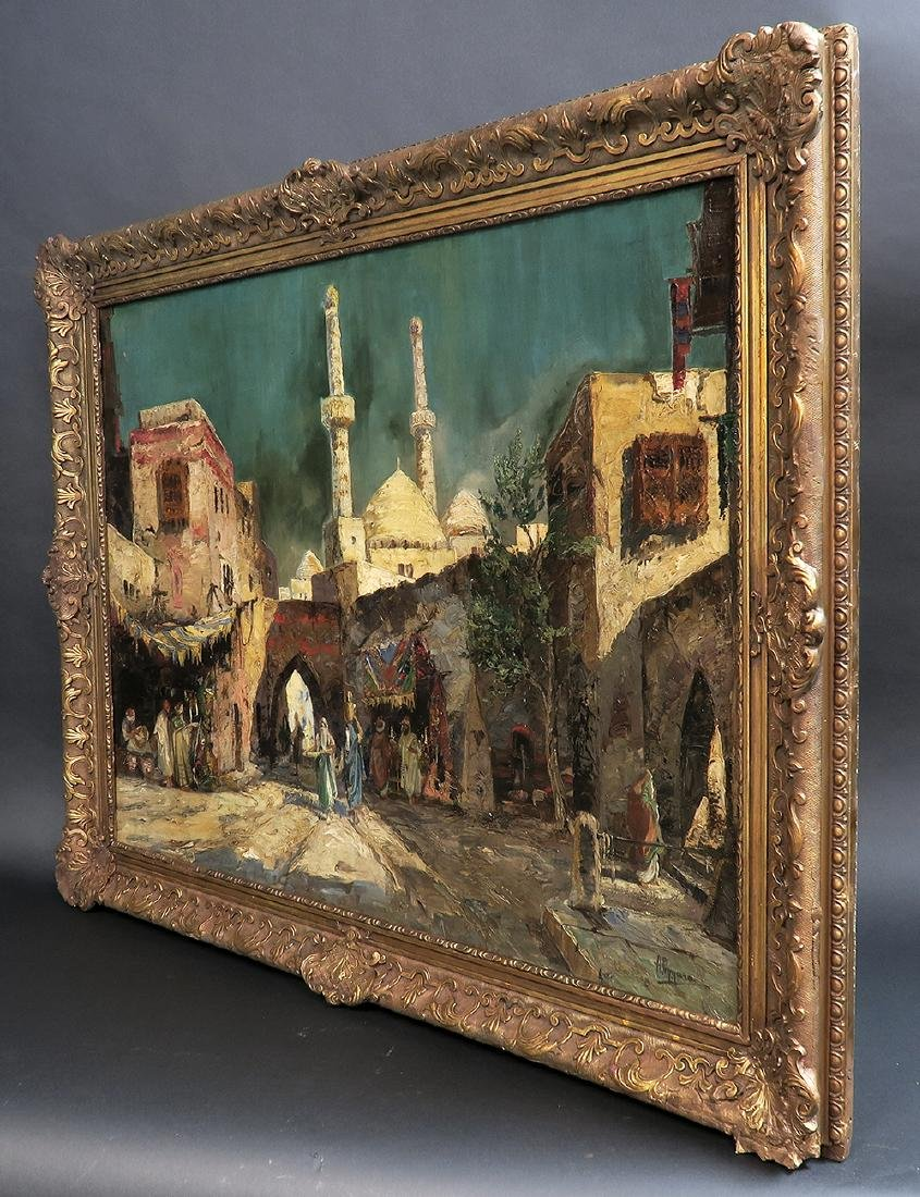 """Oil On Canvas Orientalist Painting By """"H.Pizzaro"""" - 5"""