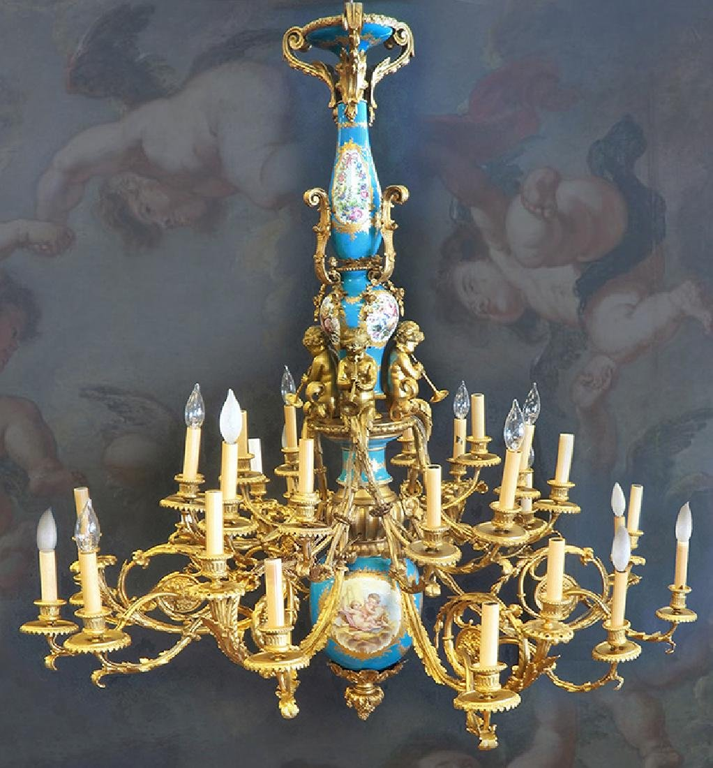 An Exceptional Castle Sevres Louis XV Style Chandelier
