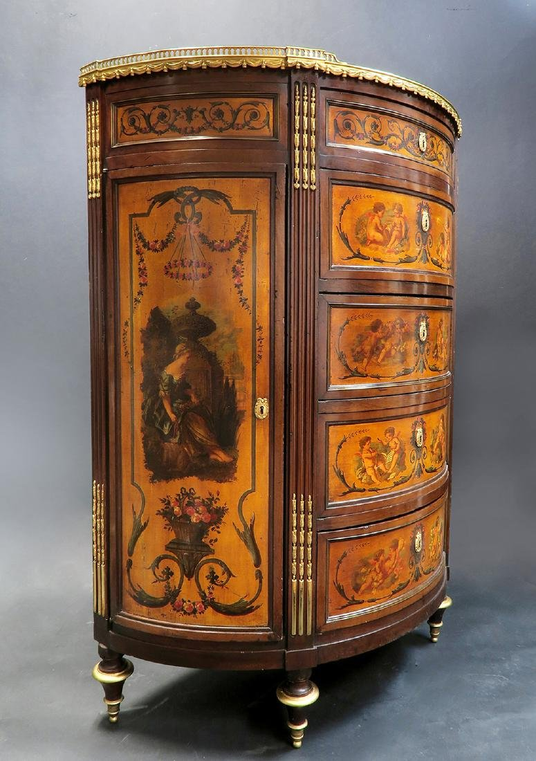 19th C. FRENCH LARGE BRONZE MOUNTED PAINTED CABINET - 4