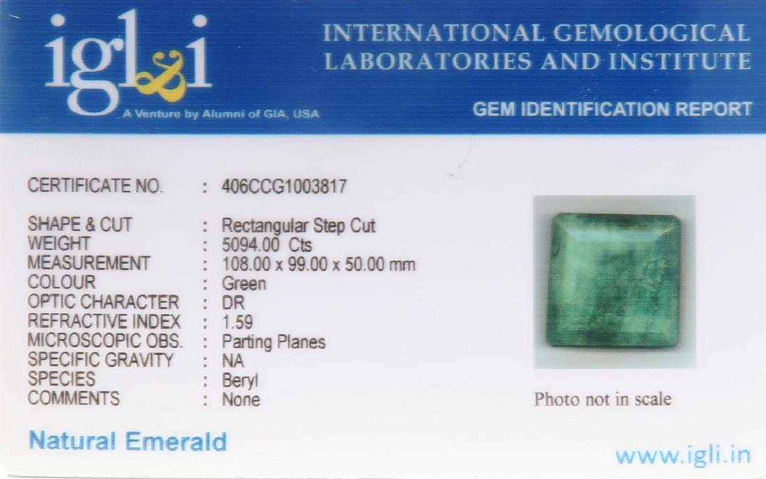 5094 Cts  Rectangular Step Cut Natural Emerald - 4