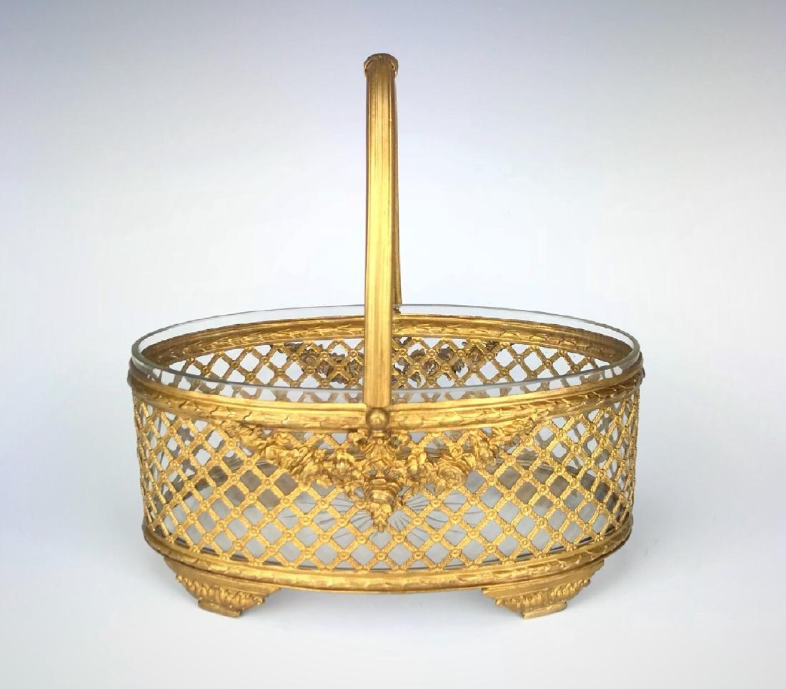 19th C. Bronze & Baccarat Crystal Basket/Centerpiece