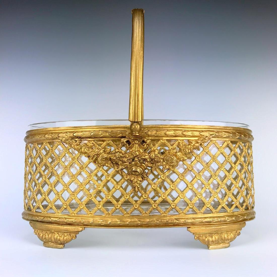 19th C. Bronze & Baccarat Crystal Basket/Centerpiece - 2