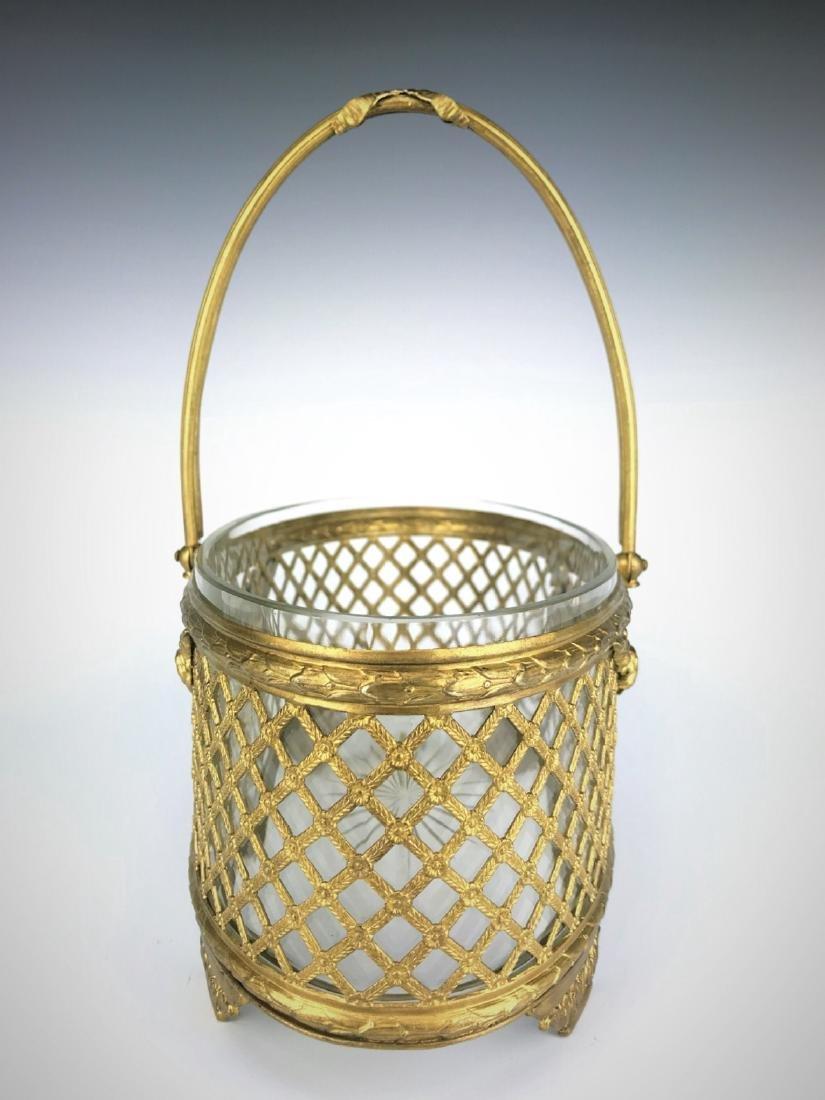 19th C. Bronze & Baccarat Crystal Basket/Centerpiece - 3